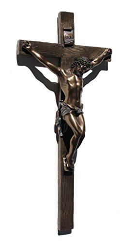 Placa de parede religiosa de crucifixo fundido a frio US 13 polegadas, cor bronze