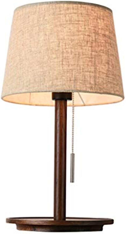 Moderne Garten-Schlafzimmer-Nachttischlampe Nordic Holz Arbeitszimmer LED Stoff Tischlampe (Farbe   braun)
