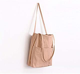 Women Shopping Bag Ladies Shoulder Bag Female Cotton Fabric Totes Eco Cloth Bags Daily Use Foldable Canvas Bag Beach Shopper,Light Brown