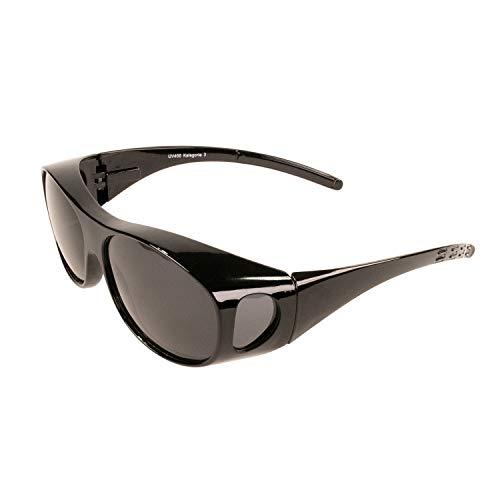 Sonnenüberbrille Überzieh Sonnenbrille FLEXI EDITION polarisiert UV 400 (Schwarz)