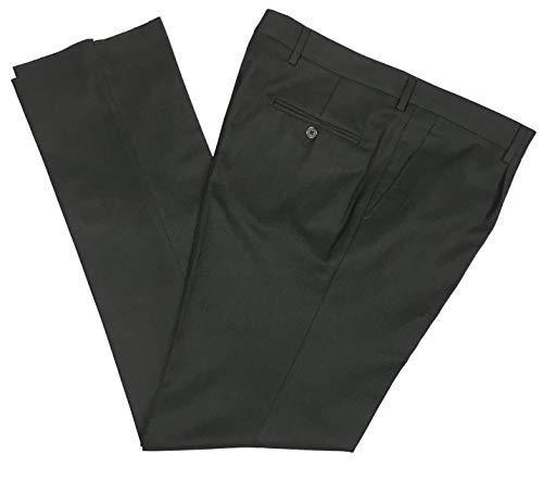 N+1 - Pantalone Uomo Classico in Fresco Lana con Pens Cavallo Alto Gamba Larga Elegante Tasca Dritta Leggero Estivo (52, Grigio Scuro)