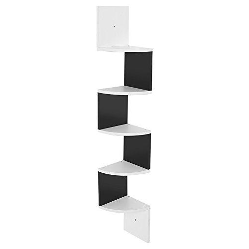 Estantería esquinera de pared con 5 estantes angulares de madera, para dormitorio, salón, estudio, 127 x 18,4 x 18,4 cm