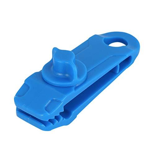 Ewendy 3 unidades / 5 unidades de clip para lona, resistente, reutilizable, para tienda de campaña, con hebilla de sujeción (1 unidad, azul)
