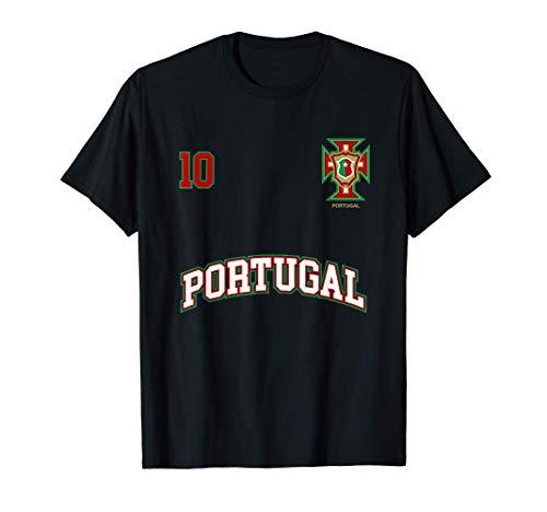 Squadra Calcio Portogallo Numero 10 Bandiera Portoghese Maglietta