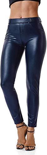 H.ZHOU Frauen PU-Leggins glänzende Leder elastische Hosen Damen-Hosen Damen Strumpfhosen & Leggings (Color : Azul, Size : M)