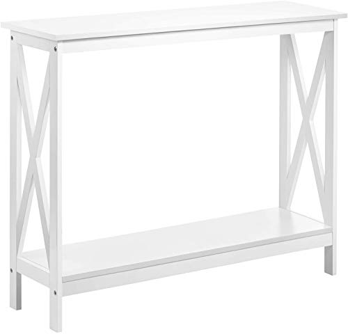Kealive Console Table, 2-Tier Wood Long Sofa Table with Storage Shelf X Frame Entryway 39.4×11.8×31.5 inches, White