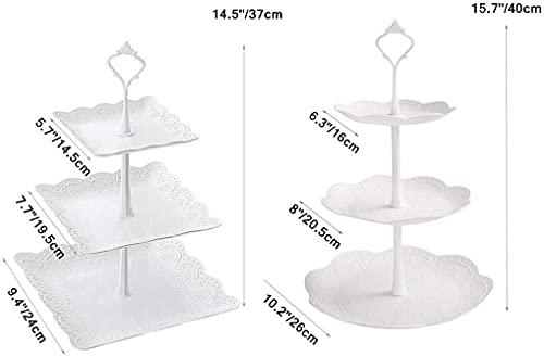 ケーキスタンドPPプラスチックお菓子皿3段デザートスタンドお菓子果物ケーキアフタヌーンティーパーティー誕生日結婚式北欧の風(円形)