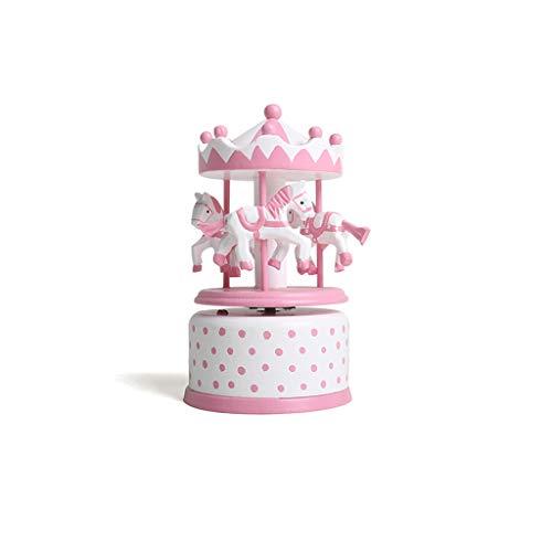 LINGLING-JOUETS Boîte à Musique carrousel Jouet pour Enfants en Bois Jouet Cadeau Fille 2 Ans (Couleur : Pink)