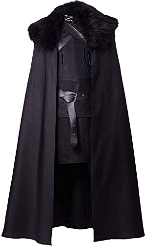 The Latest Cosplay Costume Black Coat Game of Thrones Jon Snow Costume Night's Watch Outfit (Color : Black, Size : XX-Large)
