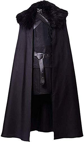 YBINGA Disfraz de cosplay negro de juego de tronos Jon Snow Disfraz de noche de reloj de cosplay (color: negro, tamaño: XXL)