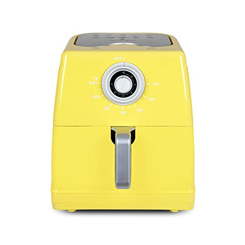 Paula Deen 85QT 1700 Watt Large Air Fryer Rapid Air Circulation System Square Single Basket System Ceramic Non-Stick Coating Easy-to-Use Dial 50 Recipes Butter Yellow