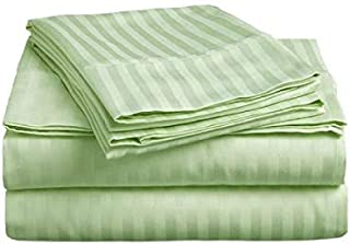 Sheet Set 4 PCs- 600 Thread Count - 100% Egyptian Cotton, Long Staple Cotton, Sateen Weave for Soft and Silky Feel, Fits Mattress Upto 17'' Deep Pocket, Sage Stripe, Queen Size.