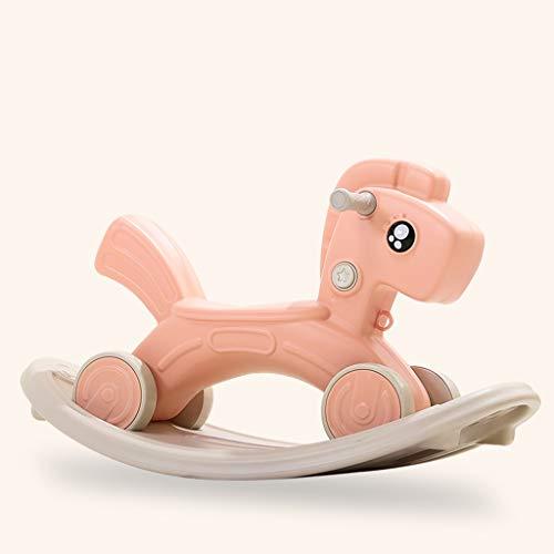 Cheval à bascule LINGZHIGAN Bébé à Double Usage Musique for Enfants Toy Trojan Small Rocking Voiture (Color : Pink)
