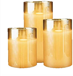 Flameless Battery Operated Flickering Candles with remote, 4 5 6 inch Real Wax Moving Wick Pillar Candles FOR Home, Partie...