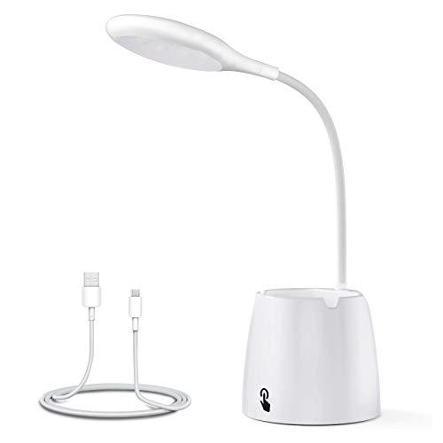 Ozvavzk Lampada da Scrivania LED, Luce da Scrivania Ricaricabile con Protezione degli Occhi e Sensore Tattile,Lampada da Tavolo di 3 modalità Illuminazione per Leggere Studio Lavorare Bianco