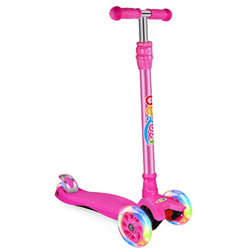 BELEEV Kick Scooter for Kids 3 Wheel Scooter for Toddlers Girls & Boys, 3 Adjustable Height, Lean to Steer with PU LED Light Up Wheels for Children from 3 to 12 Years Old(Rose Pink)