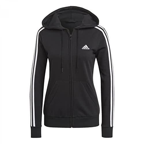 adidas W 3S FT FZ HD Sweatshirt, Women's, Black/White, S