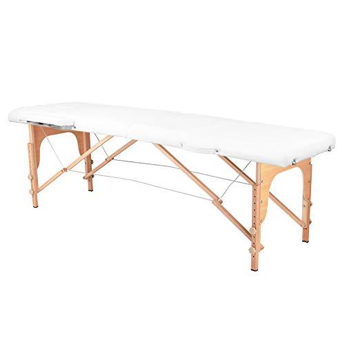 Camilla de masaje plegable con 2 zonas, fácil de instalar, con estructura de madera de haya alemana, funda para transporte, reposacabezas y reposabrazos desmontable, color blanco