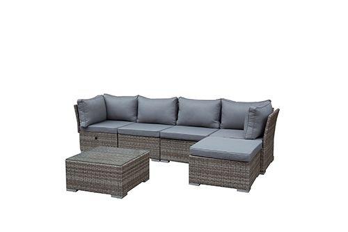 greemotion Salon de jardin en résine tressée Toronto – Salon de jardin aluminium gris et beige – Salon d'été avec table basse de jardin, 4 fauteuils et 1 pouf de jardin – salon de jardin modulable
