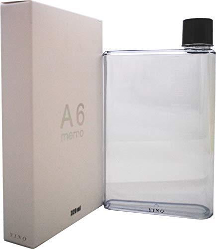 YINO - Borraccia portatile, elegante, trasparente, riutilizzabile, piatta, senza BPA, a prova di perdite, per sport all'aria aperta e viaggi A6 Trasparente