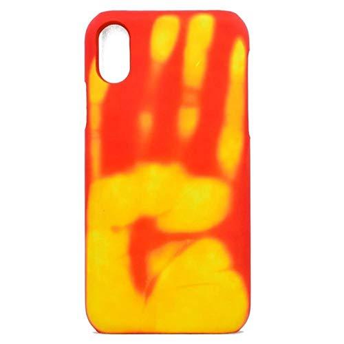 WEIYYY Estuche para teléfono de inducción de Calor térmico para iPhone XS 11 Pro MAX 6 6S Plus 5 5S SE Sensor para iPhone X XR 6 7 8 Plus Funda Protectora, Naranja, para iPhone XS