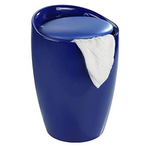 WENKO Badhocker Candy Blau, Hocker mit Stauraum für das Badezimmer und Wohnzimmer, integrierter Wäschesammler, ABS-Kunststoff, Fassungsvermögen 20 L, Ø 36 x 50,5 cm