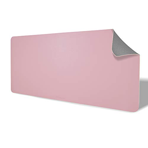 Deskadia Non-Slip Double Sided Two Tone Vegan Leather Desk Mat Protector Pad, Waterproof Writing Mouse Pad Table Blotter Cover for Home Office Study Gaming Kids Decor(Gray/Pink,36 x17x0.08in)