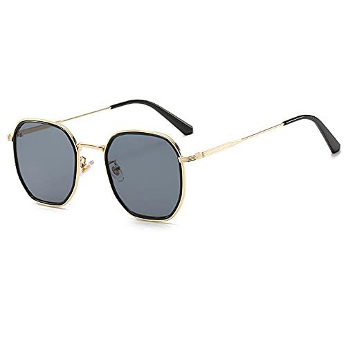Gafas De Sol Gafas De Sol Cuadradas De Lujo para Hombres Y Mujeres, Gafas De Sol con Montura De Metal Vintage, Montura De Gafas Transparentes para Hombres Y Mujeres, Uv400 C1Gold-Black