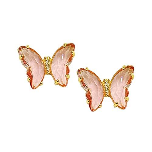 YFZCLYZAXET Pendientes Mujer Mariposa De Color Transparente Dulce Pequeño Temperamento Fresco Pendientes Multicolores Simples Y Versátiles Pendientes Femeninos-Rosa