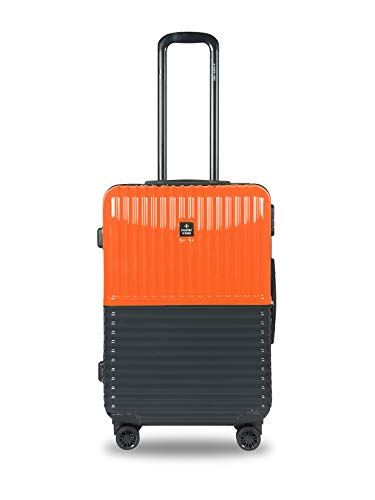 Nasher Miles Istanbul Hard-Sided ABS and PC Check-in Luggage 24 inch |65cm Trolley Bag (Orange,Grey)