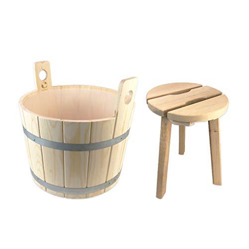 SudoreWell® Sauna Fußwanne Fußbottich aus Holz mit Einsatz plus Holzhocker