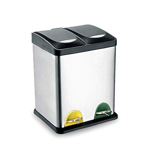 LUAN Cubos de Basura Bote de Basura de 16 l, 24 l, Papelera de Reciclaje Doble, Cubo de Basura con Cubos internos de plástico, Acero Inoxidable a Prueba de Huellas Dactilares Papelera (tamaño : 16L)