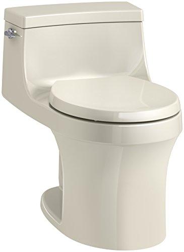 KOHLER K-4007-47 San Souci Round-Front 1.28 GPF Toilet with AquaPiston Flushing Technology and Left-Hand Trip Lever, Almond, 1-Piece