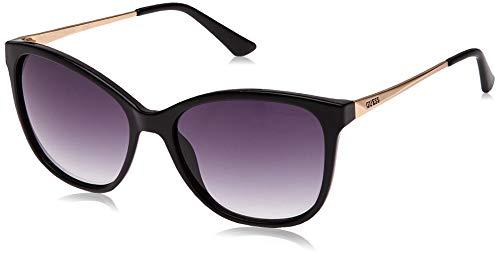 Guess Unisex-Erwachsene GU7502 01A 57 Sonnenbrille, Schwarz (Nero Lucido/Fumo),