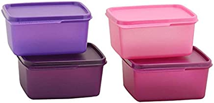 Tupperware Keep Tab Plastic Container Set, 500ml, Set of 4, Multicolour (Tup_B01AXR1M88)