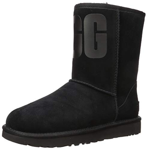Price comparison product image UGG Women's Classic Short Rubber Logo Fashion Boot,  Black,  8 M US