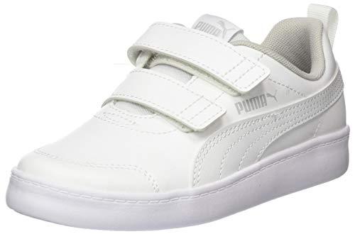 Puma Unisex-Kinder Courtflex V2 V Ps Sneaker, Weiß White-Gray Violet, 35 EU