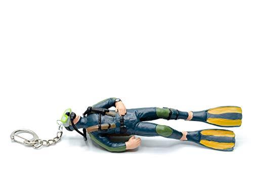 Miniblings Llavero de buceo con diseño de calavera, color negro y verde, 13 cm, hecho a mano, joya de moda I colgante llavero llavero llavero – Buceo buceo