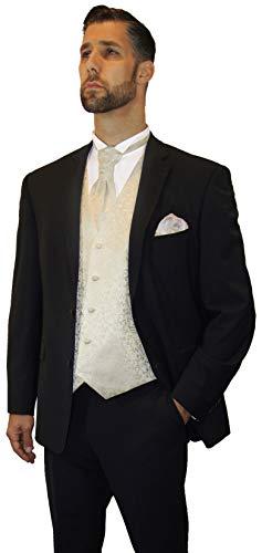 Paul Malone Anzug Hochzeitsanzug modern schwarz 7tlg. + Hochzeitswesten Set Champagner + Hochzeitshemd weiß