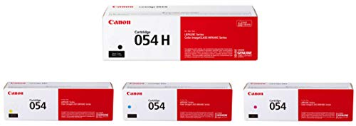 Canon 054 Toner Cartridge Set of High Yield Black, Standard Yield Cyan, Magenta, Yellow in Retail Packing