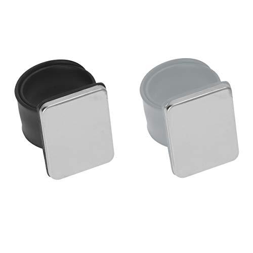 EXCEART 2Pcs Bracelet en Silicone Bracelet Magnétique Porte-Épingle pour Salon de Coiffure Couture Fournitures de Coiffure Noir Gris