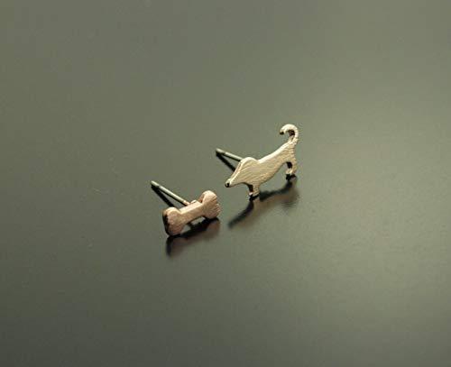 Ohrstecker Hund Dackel und Knochen rosé gold Ohrringe Tier