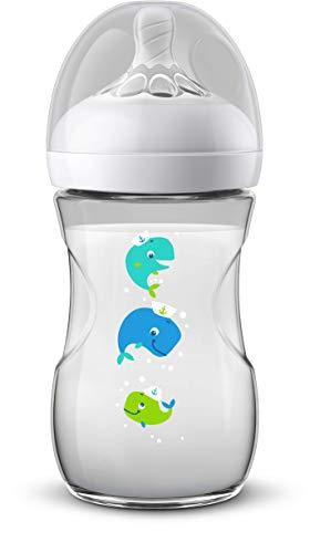 Philips Avent Philips Avent Natural Fles, natuurlijk drinkgedrag, anti-colik-systeem, 260 ml, met motief Wal