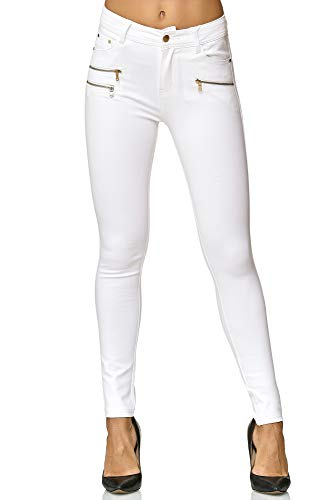 Elara Damen Stretch Hose Skinny Fit Jegging Chunkyrayan H86-9 White 38 (M)