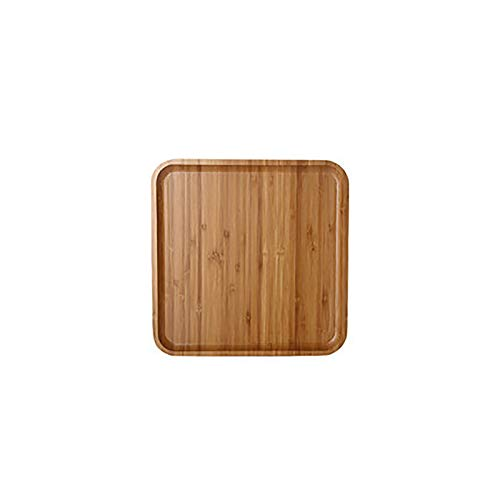 Nileco Wooden Bamboo Tray,Stylish Rectangle Food Serving Trays,Multi-functional Serving Platters,Breakfast Tray Home Decoration Birthdays-Square 25x25x2cm(10x10x1inch)