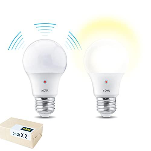 DYA - Lot de 2 ampoules LED goutte A60 avec détecteur de mouvement - E27-10 W équivalentes à 70 W - 810 lumens - Lumière chaude 3000 K