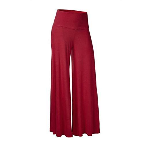 NP Pantalones de pierna ancha de cintura alta para mujer de color sólido para mujer