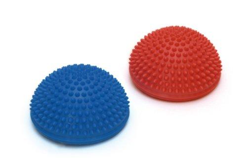 SISSEL Spiky Dome, Balance-Kugel, Gymnastik Igelball mit Noppen, 2-er-Set, blau und rot