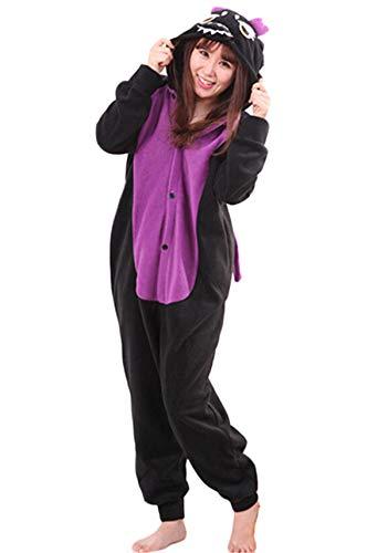 Jumpsuit Onesie Tier Karton Fasching Halloween Kostüm Sleepsuit Cosplay Overall Pyjama Schlafanzug Erwachsene Unisex Lounge Kigurumi Schwarz Drache for Höhe 140-187CM