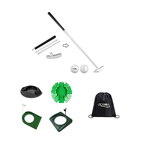 POSMA GCP02D 4 Sections Portable Best Two-Way Putter 4 Kinds of Putt Cup Kit Set - Left Right Hand - 2-Piece Tour Golf Balls - 1 Golf Carry Bag